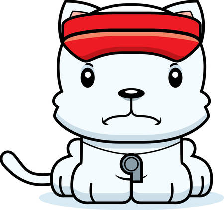 hat with visor: A cartoon lifeguard kitten looking angry. Illustration