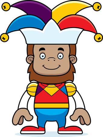 sasquatch: A cartoon jester sasquatch smiling.
