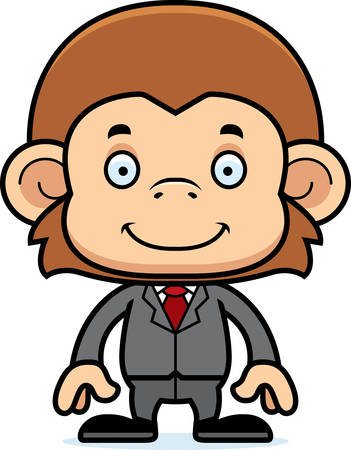 businesspersons: A cartoon businessperson monkey smiling.