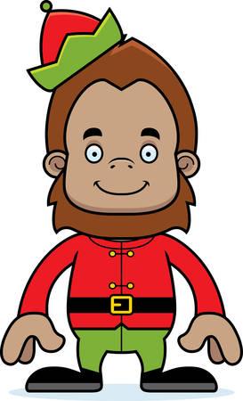 sasquatch: A cartoon Xmas elf sasquatch smiling.