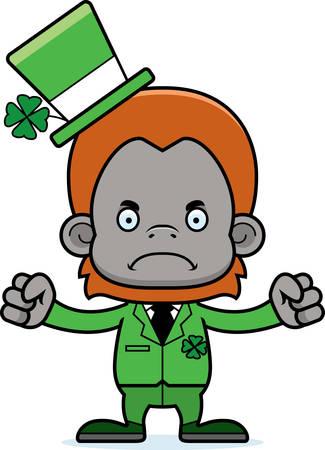 orangutan: A cartoon Irish orangutan looking angry.