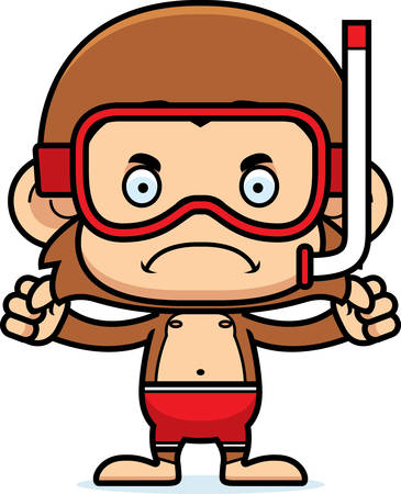 monkey suit: A cartoon snorkeler monkey looking angry.