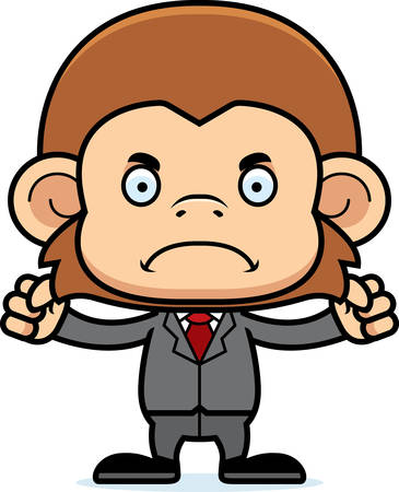 monkey suit: A cartoon businessperson monkey looking angry.