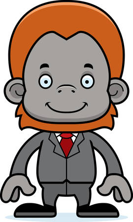 businessperson: A cartoon businessperson orangutan smiling.