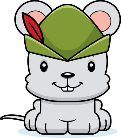 A cartoon Robin Hood mouse smiling. Çizim