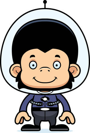spaceman: A cartoon spaceman chimpanzee smiling.