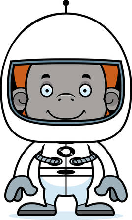 orangutan: A cartoon astronaut orangutan smiling. Illustration