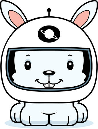spacesuit: A cartoon astronaut bunny smiling.