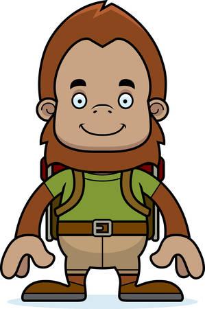 sasquatch: A cartoon hiker sasquatch smiling. Illustration