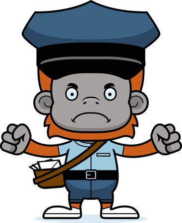 mail carrier: A cartoon mail carrier orangutan looking angry.