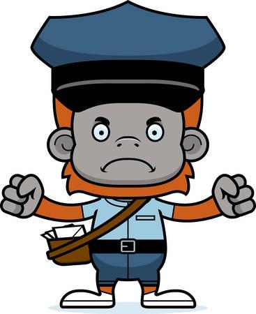 Een cartoon postbode orang-oetan op zoek boos. Stock Illustratie