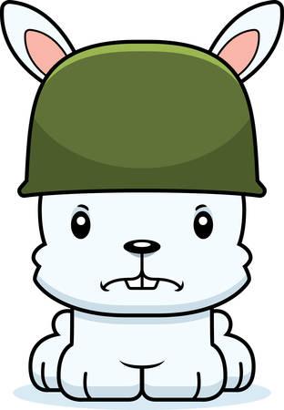 Een cartoon soldaat bunny op zoek boos.