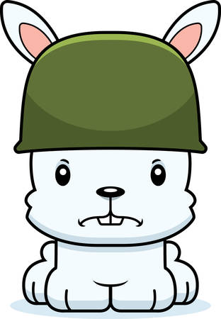 A cartoon soldier bunny looking angry.