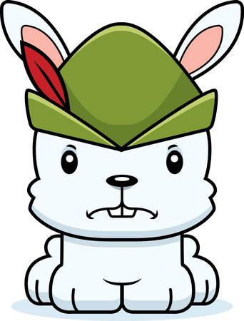 robin hood: A cartoon Robin Hood bunny looking angry.