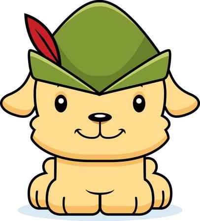 robin hood: A cartoon Robin Hood puppy smiling.