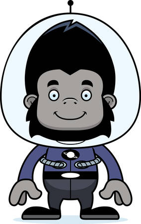 spacesuit: A cartoon spaceman gorilla smiling.