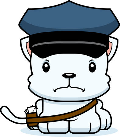 A cartoon mail carrier kitten looking angry. Ilustracja