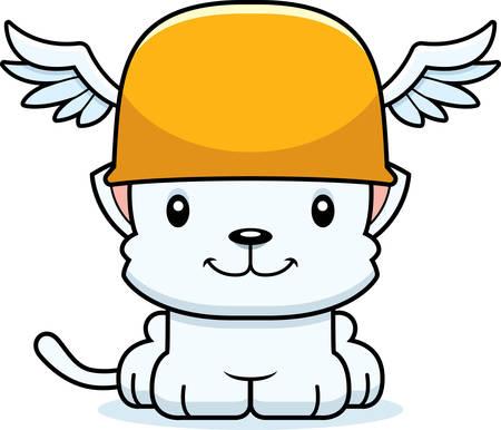 hermes: A cartoon Hermes kitten smiling.