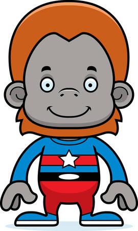 orangutan: A cartoon superhero orangutan smiling. Illustration