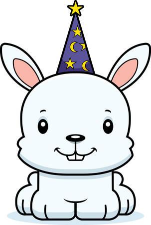 A cartoon wizard bunny smiling. Ilustrace