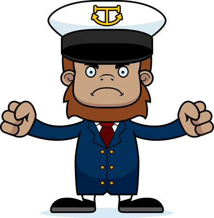 sasquatch: A cartoon boat captain sasquatch looking angry.