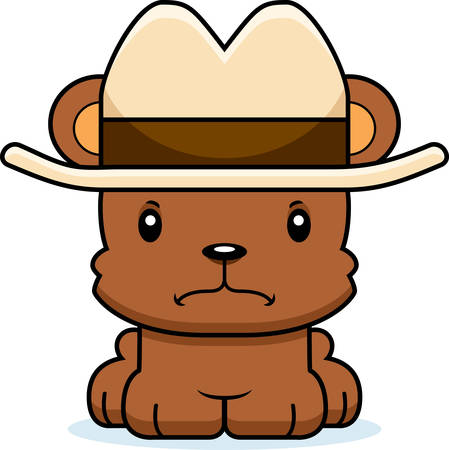 A cartoon cowboy bear looking angry.