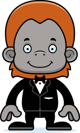 orangutan: A cartoon groom orangutan smiling.