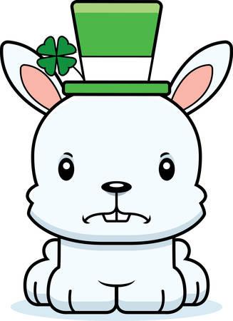 animal st  patricks day: A cartoon Irish bunny looking angry.