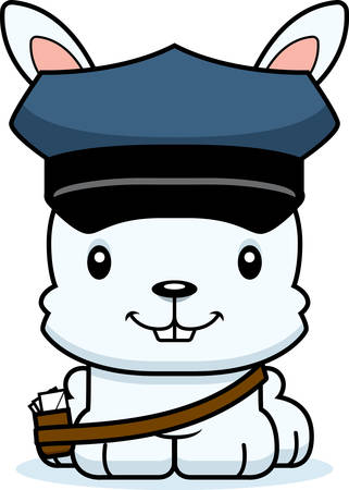mail carrier: A cartoon mail carrier bunny smiling.