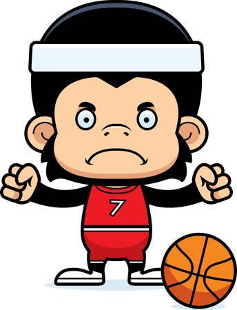 chimpanzee: A cartoon basketball player chimpanzee looking angry.