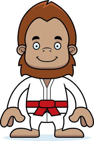 sasquatch: A cartoon karate sasquatch smiling.