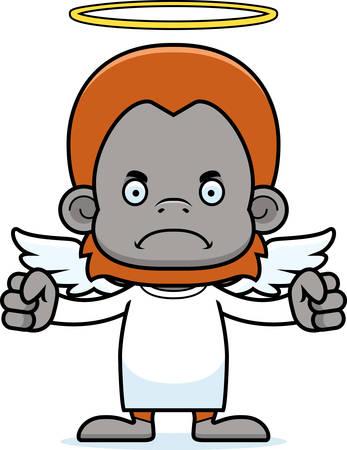 A cartoon angel orangutan looking angry.