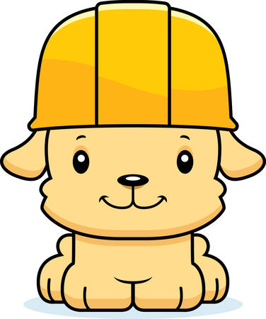 tool belt: A cartoon construction worker puppy smiling. Illustration