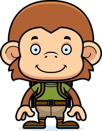 A cartoon hiker monkey smiling.