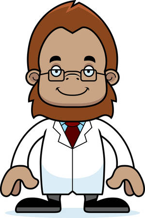 sasquatch: A cartoon scientist sasquatch smiling.