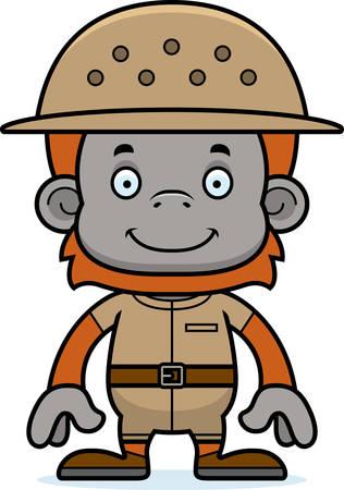 pith: Un empleado del zool�gico de dibujos animados sonriente orangut�n.