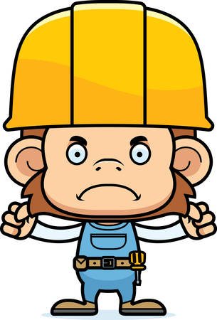 tool belt: A cartoon construction worker monkey looking angry.