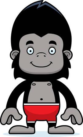 maillot de bain: A cartoon gorilla smiling in a swimsuit. Illustration