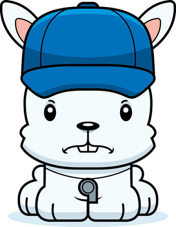 A cartoon coach bunny looking angry. Illustration