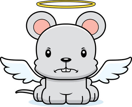 angry angel: A cartoon angel mouse looking angry.
