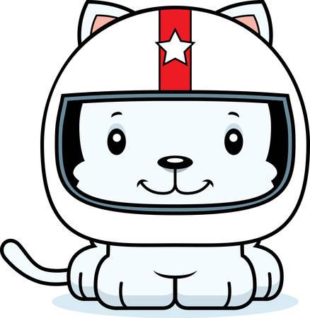 race car driver: A cartoon race car driver kitten smiling.
