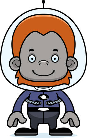 orangutan: A cartoon spaceman orangutan smiling. Illustration