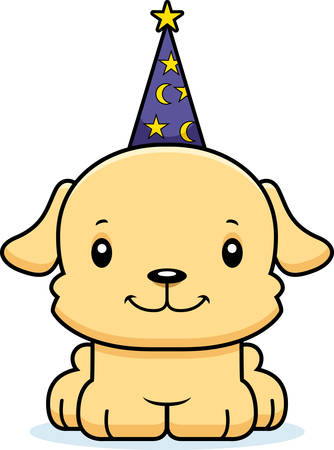 A cartoon wizard puppy smiling.