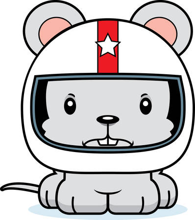 rat race: A cartoon race car driver mouse looking angry.