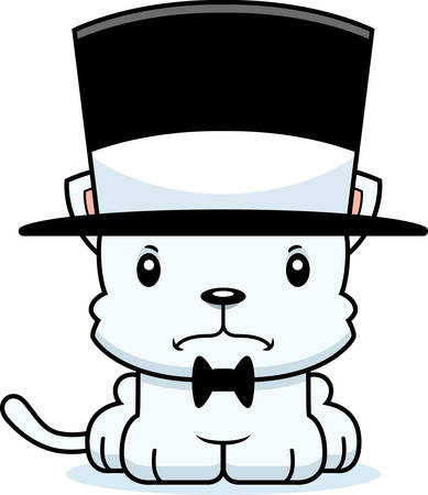 top hat: A cartoon kitten looking angry in a top hat.