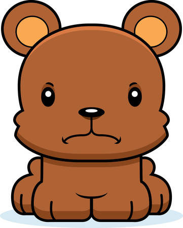 A cartoon bear looking angry.