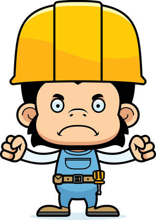 chimpanzee: A cartoon construction worker chimpanzee looking angry. Illustration
