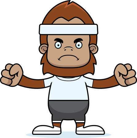 sasquatch: A cartoon fitness sasquatch looking angry.