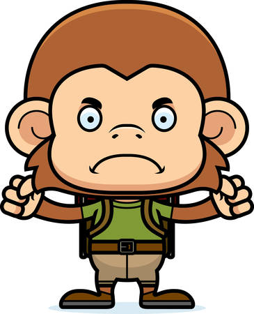 hiker: A cartoon hiker monkey looking angry.