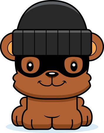 burglars: A cartoon thief bear smiling.